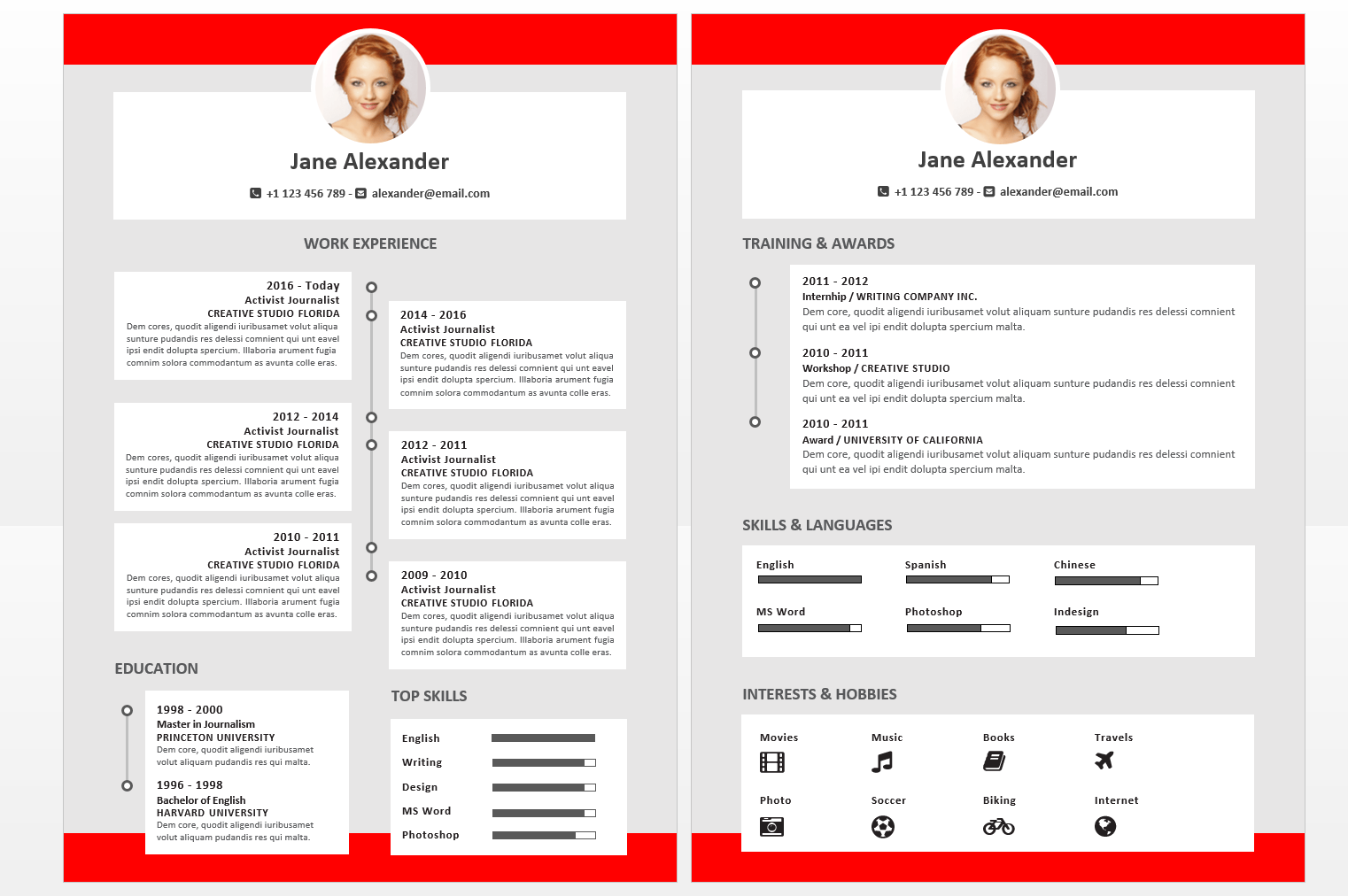Red Modern Resume Reference Page Template. Executive Resume Template