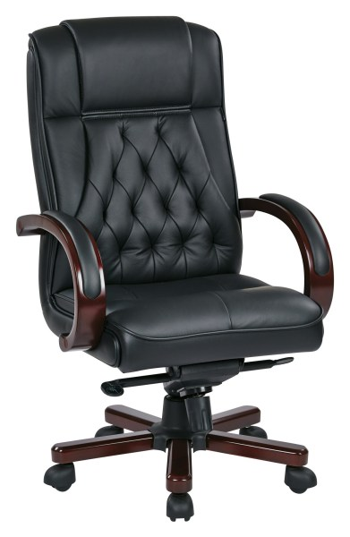 executive leather office chairs Office Star TWN300L-3 Leather Executive Chair with Royal Cherry Base and Dual Wheel Carpet Casters