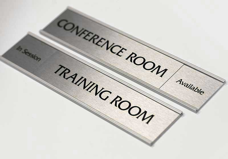 Silver Office Signs Brushed Metal Name Plates