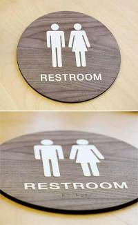 Stylish Restroom Signs ADA Braille - Wood Bathroom Signs
