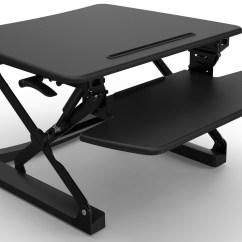 Executive Mesh Office Chair Pedestal Swivel Rapid Riser Black Height Adjustable Sit Stand Desk | Stock