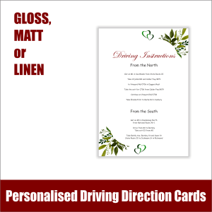 Wedding Driving Direction Cards