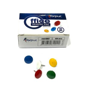 DRAWING PINS [ ASSORTED COLOURS ] 9.5mm Head Diameter [Pack 100]