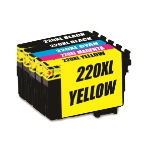 Compatible Epson 220XL Black and Colour Cartridges Inks Value Pack