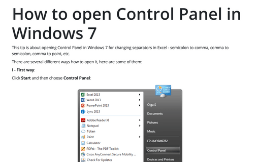 How to open Control Panel in Windows 8