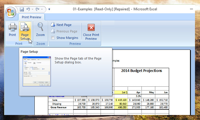how to change page size in excel 2007