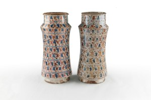 image-2-pair-of-albarelli-medicine-jars-decorated-in-overglaze-lustre-spain-15th-16th-centuries