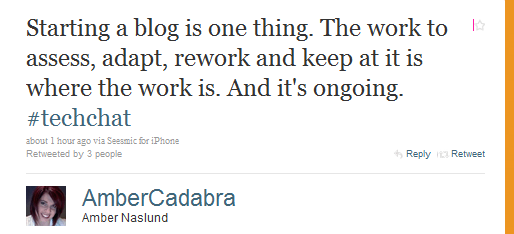 Tweet from Amber Naslund on blogging habit