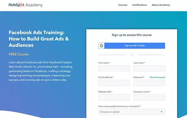 HubSpot Academy's Facebook ads Training: How to Build Great Ads & Audiences