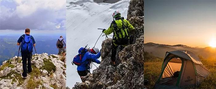 Hiking, Mountain Climbing and Camping