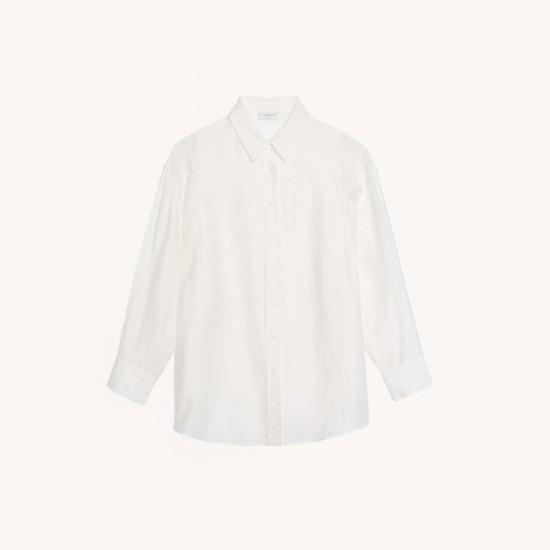 chemise a empiecements en guipure sandro soldes femme