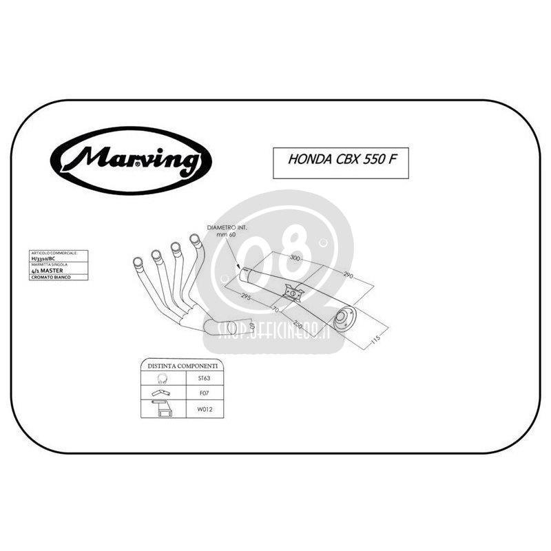 Impianto di scarico per Honda CBX 550 F Marving 4 in 1 Master