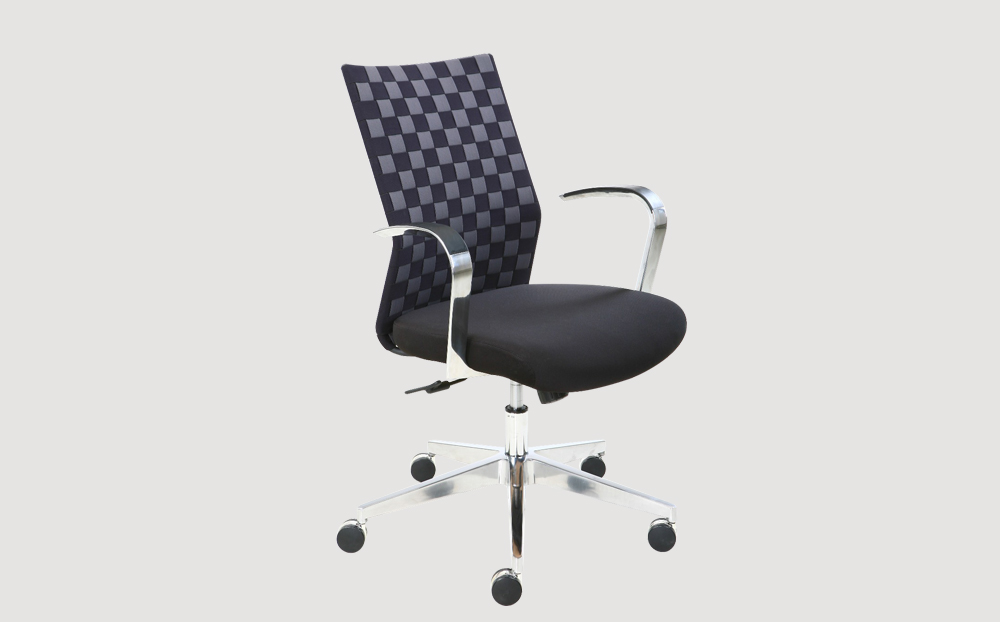 ergonomic mid back office chair black frame black seat chrome legs castor wheels
