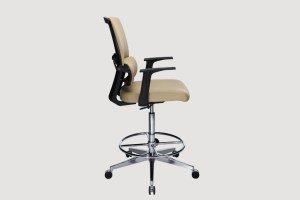 ergonomic mid back office chair black frame beige seat castor wheels