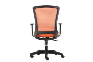 ergonomic mid back office chair mesh back black frame orange seat