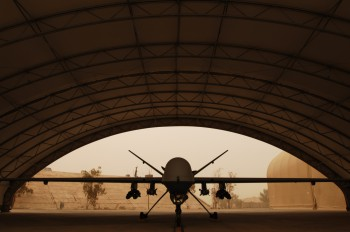 An MQ-9 Reaper waits out a haboob beneath a shelter, Sept. 8, 2008. Haboobs are sandstorms that result from the collapse of thunderstorm cells. Photo: U.S. Air Force.