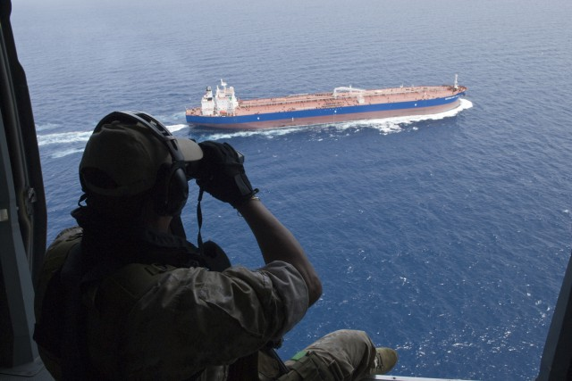 Piracy is still perceived as one of the major threats. The European Union Naval Force Atalanta operates in an Area of Operation covering the Southern Red Sea, the Gulf of Aden and a large part of the Indian Ocean, including the Seychelles, representing an area of about 1.5 times the size of the Europe mainland. The entire region is considered as high risk area. Photo: Freighter watched by EU Naval Force Helicopter.