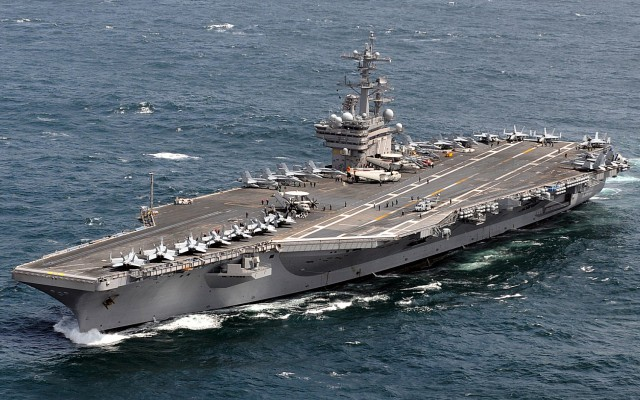 Currently in the Mediterranean: the USS George H.W. Bush (CVN-77)