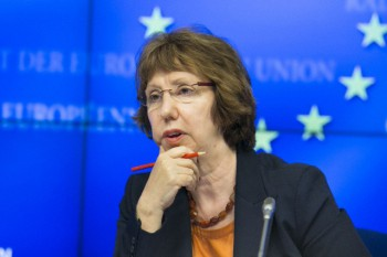 High Representative of the Union for Foreign Affairs and Security Policy Catherine Asthon talks to journalists in a press conference at the end of a extraordinary Foreign affairs Council meeting at the EU Council headquarters in Brussels, Belgium, 21 August 2013 (Photo: Delmi Alvarez / ZUMA Press / Corbis).
