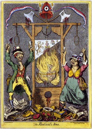 "The Radical's Arms, an English caricature by George Cruikshank, first published November 13, 1819. The tricolor ribbon is inscribed ""No God! No Religion! No King! No Constitution!"" Below the ribbon, and its Phrygian cap with tricolor cockade, are two bloody axes, attached to a guillotine, whose blade is suspended above a burning globe. An emaciated man and drunken woman dressed in ragged clothes serve as heraldic ""supporters"", gleefully dancing on discarded royal and clerical regalia... During the Reign of Terror, between 18,000 and 40,000 people were executed."