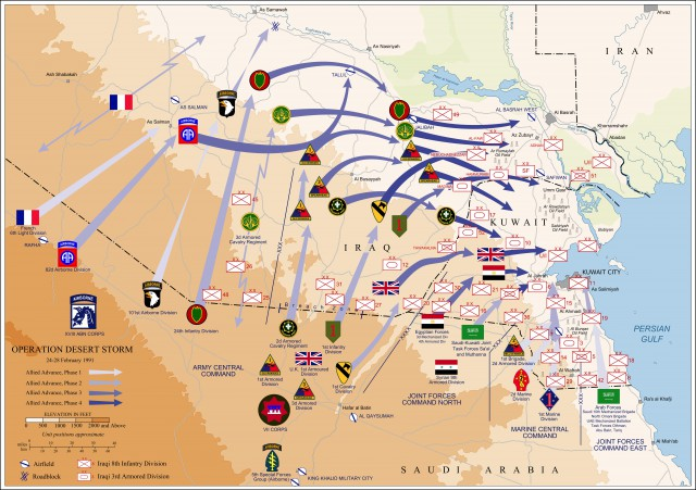 Map of ground operations of Operation Desert Storm from February 24-28th 1991.