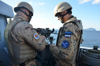EU NAVFOR: Soldiers from different branches of the Estonian Armed Forces, are deployed on board the FS Courbet, following an intensive 4 months of training in their home country. This training was followed by specialised exercises together with the French crew on board the FS Courbet to perfect the VPD's procedures for protecting a vessel from pirate attacks (2 February 2013).