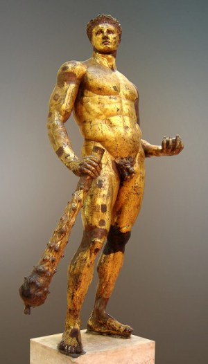 Hercules. Gilded bronze, Roman artwork, 2nd century BC.