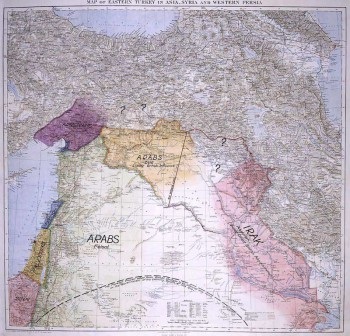 Map presented by Lawrence to the Eastern Committee of the War Cabinet in November 1918.