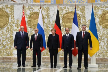 Normandy format talks in Minsk (February 2015): Angela Merkel, Francois Hollande, Petro Poroshenko and Vladimir Putin are take part in the talks on a settlement to the situation in Ukraine.