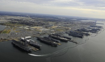 The aircraft carriers USS Dwight D. Eisenhower (CVN 69), USS George H.W. Bush (CVN 77), USS Enterprise (CVN 65), USS Harry S. Truman (CVN 75), and USS Abraham Lincoln (CVN 72) are in port at Naval Station Norfolk, Va., the world's largest naval station (Photo: Mass Communication Specialist 2nd Class Ernest R. Scott / U.S. Navy).