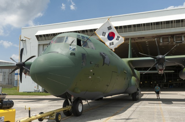 The Republic of Korea Air Force (ROKAF) C-130J is moved from the paint hangar at Lockheed Martin Aeronautics Company, Marietta on Tuesday, June 10, 2013 (Photo by Andrew McMurtrie).