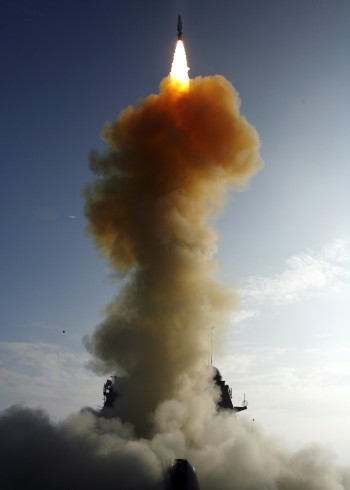 At a single modified tactical Standard Missile-3 (SM-3) launches from the U.S. Navy AEGIS cruiser USS Lake Erie (CG 70), successfully impacting a non-functioning National Reconnaissance Office satellite (<a href=