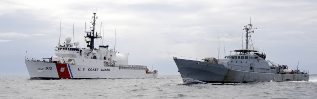 Joint Patrol of the Senegalese Navy vessel Poponquine (right) alongside the U.S. Coast Guard Cutter Legare (left).