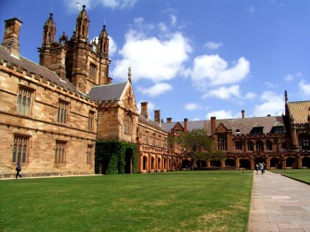 The Main Quadrangle of the University of Sydney. The university was established in 1850, it is the oldest university in Australia and Oceania.