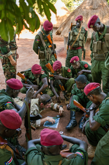 A Green Beret teaching navigation techniques to soldiers from the Sudan People's Liberation Army (Photo: Michael Christopher Brown for The New York Times).