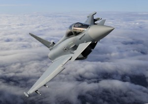 German Air Force single seat Eurofighter over Lithuania as part of Nato policing of the Baltic States. The aircraft is from JG-74 from Neuburg, Germany and has IRIS-T missiles and drop tank.