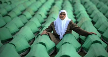 Coffins of victims of the Srebrenica massacre, caused by Serbian troops in 1995 during the Bosnian war.