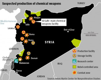 Suspected chemical weapons production sites in Syria.