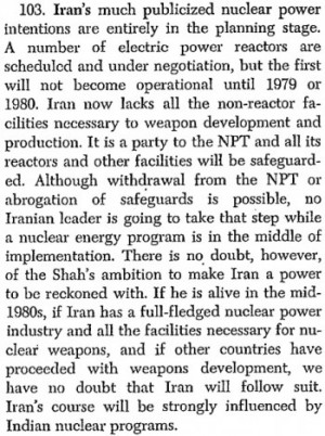 """Quelle: Special National Intelligence Estimate 4-1-74, """"Prospects for Further Proliferation of Nuclear Weapons"""", 23.08.1974."""