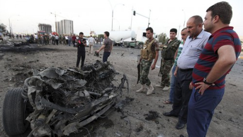 Car bomb attack in Erbil, August 2014.