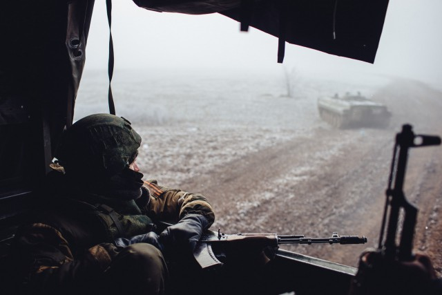 On Tuesday, February 17, 2015, rebels seized most of the town and took several Ukrainian soldiers captive. In the days preceding their victory, photographer Max Avdeev embedded with the First Slavyansk Brigade of the self-proclaimed Donetsk People's Republic in the nearby town of Logvinove. The rebels had just seized the town, cutting Debaltseve off from the last road leading to Ukrainian territory. The soldiers were mostly local volunteers, though their commanding officers were Russian — as were the men who delivered them tanks and artillery. As the deadline for a new cease-fire deal came and went overnight on Sunday, the rebels kept on shelling Debaltseve (Photo: Max Avdeev).