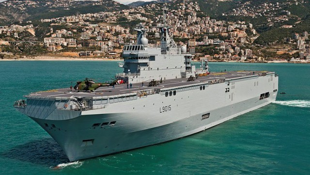 The Landing Helicopter Dock Dixmude (L9015) in Jounieh bay, Lebanon (mMrch 2012). It is the third French Mistral-class amphibious assault ship.