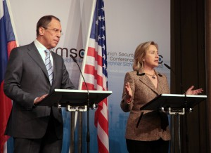 U.S. Secretary of State Hillary Rodham Clinton and Russian Foreign Minister Sergey Lavrov deliver remarks after signing the New START Treaty at the Munich Security Conference, February 5, 2011 (Photo: State Department).