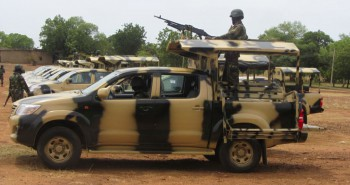 Soldiers from Lagos, Nigeria are part of an expected 1,000 reinforcements sent to Adamawa state to fight Boko Haram Islamists, with the 23rd Armoured Brigade (May 20, 2013).