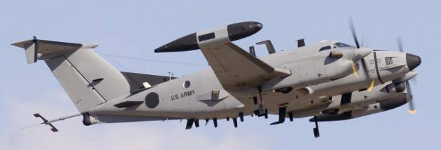 An Army RC-12X Guardrail/Common Sensor aircraft. Army photo.