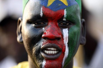 A man with a South Sudan map painted on his face celebrates independence in July 2011.