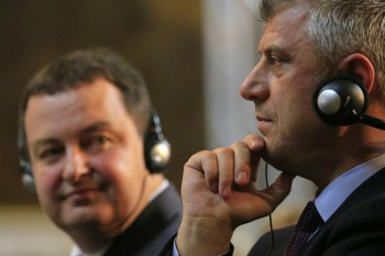 Serbia Prime Minister Ivaca Dacic (left) and Kosovo Prime Minister Hashim Thaci (right) hope that the successful elections will help push their countries toward EU integration.