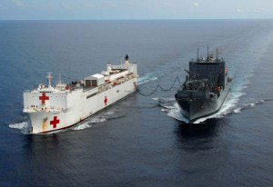 USNS Comfort supplied by USNS Peary (16 July 2009).