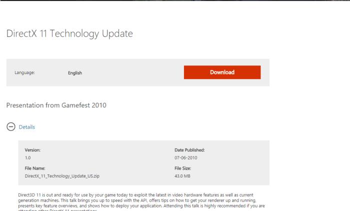 Download DirectX 11 Offline Installer