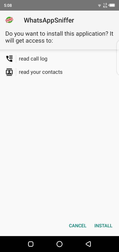 Screenshot of WhatsApp Sniffer & Spy Tool